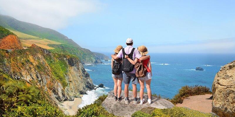 Família curtindo viagem na Califórnia