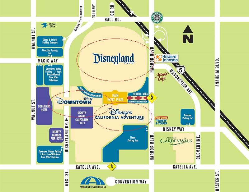 Complexo da Disney em Anaheim - Mapa
